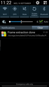 GIF Studio - frame extraction notification
