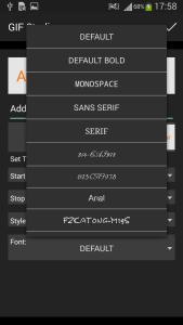 GIF Studio - Font family selection